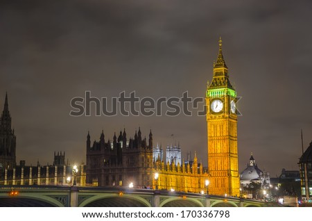 Big Ben and House of Parlament landmark view over Westminister bridge in London, England - stock photo