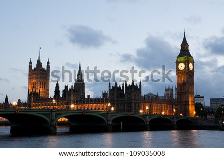 Big Ben and House of Parliament at at dusk - stock photo