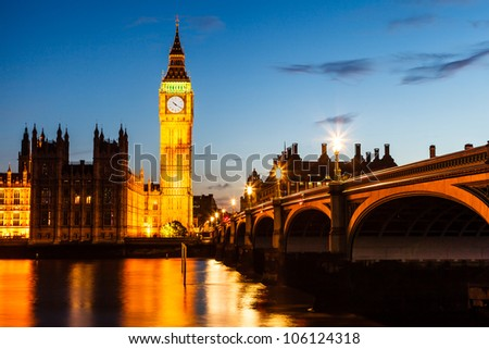 Big Ben and House of Parliament at Night, London, United Kingdom - stock photo