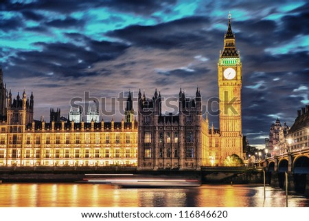 Big Ben and House of Parliament at River Thames International Landmark of London England at Dusk - UK - stock photo