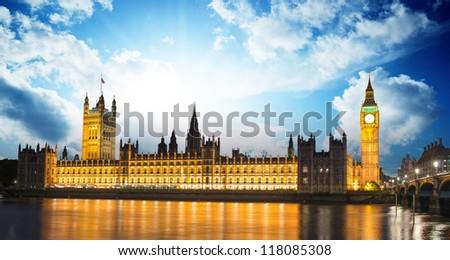 Big Ben and House of Parliament at River Thames International Landmark of London England at Dusk - UK - stock photo