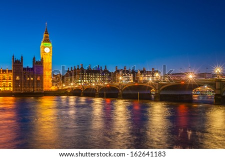 Big Ben and House of Parliament at sunset, London, UK