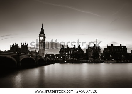 Big Ben and House of Parliament in London at dusk panorama. - stock photo