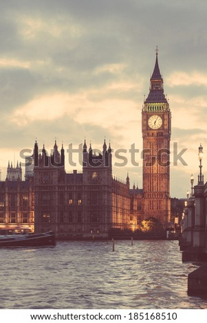 Big Ben and House of Parliament in London at Sunset - stock photo