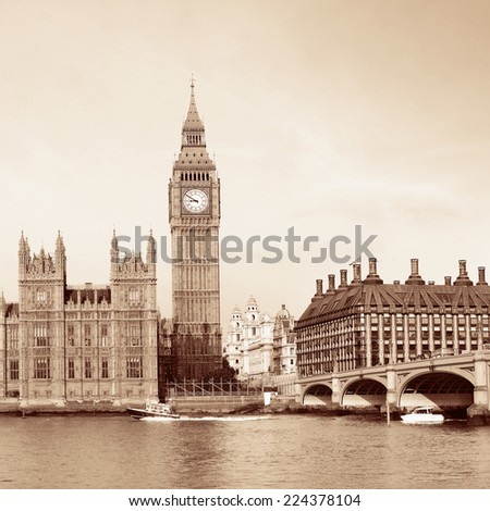 Big Ben and House of Parliament in London in black and white. - stock photo