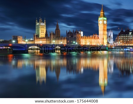 Big Ben and Houses of Parliament at evening, London, UK - stock photo