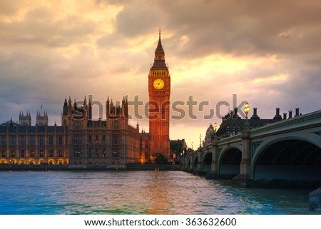 Big Ben and houses of Parliament at sunset.  - stock photo