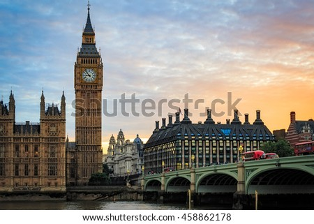 Big Ben and Houses of parliament at sunset, London, UK.