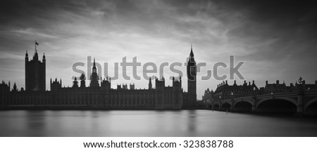 Big Ben and Houses of Parliament during Winter sunset in black and white - stock photo