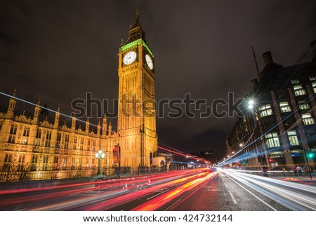 Big Ben and Houses of Parliament from Westminster Bridge at night, London, UK - stock photo