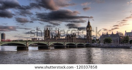 Big Ben and Houses of Parliament, London, United Kingdom. - stock photo