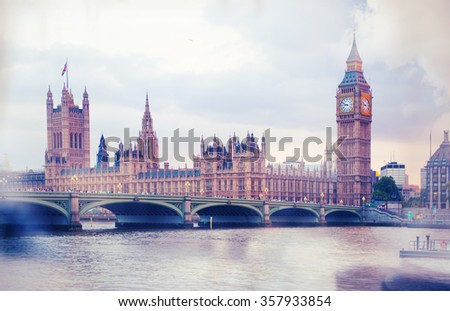 Big Ben and houses of Parliament, London. Vintage effect  - stock photo