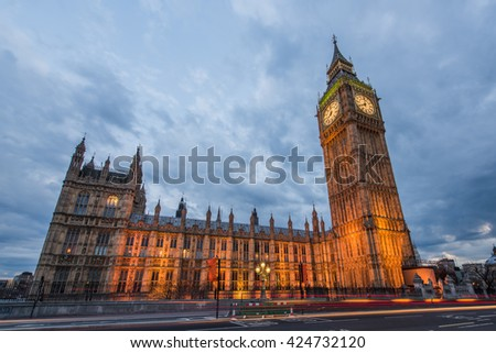 Big Ben and Houses of Parliament standing tall, London, UK - stock photo