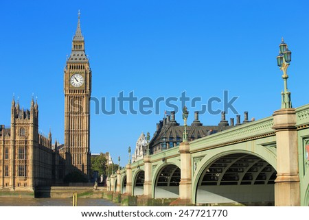 Big Ben and Houses of Parliament with bridge and thames river in London, United Kingdom, uk - stock photo