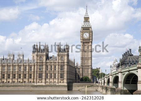 Big Ben and the Houses of Parliament with the River Thames, London, England, UK - stock photo