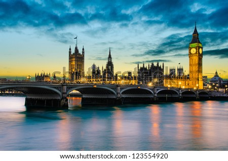Big Ben and the Palace of Westminster at sunset, London, UK - stock photo
