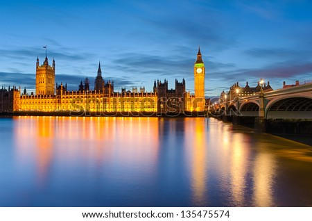 Big Ben and the Palace of Westminster, London, UK - stock photo