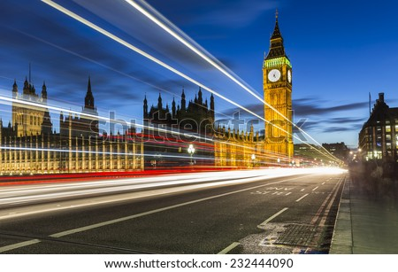 Big Ben and The Palace of Westminster,London,UK - stock photo
