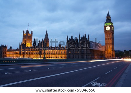 Big-Ben  and the parliament at the evening - stock photo