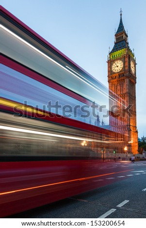Big Ben and traffic on Westminster Bridge - stock photo