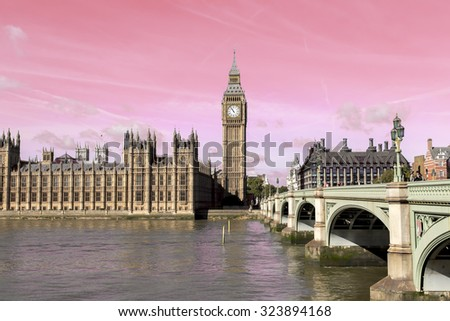 Big Ben and Westminster abbey, London, England - stock photo