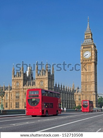 Big Ben and Westminster Bridge - stock photo