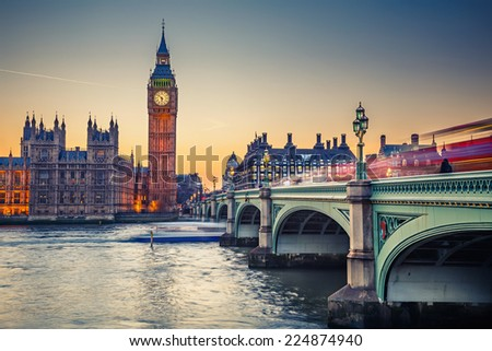 Big Ben and Westminster bridge at dusk - stock photo