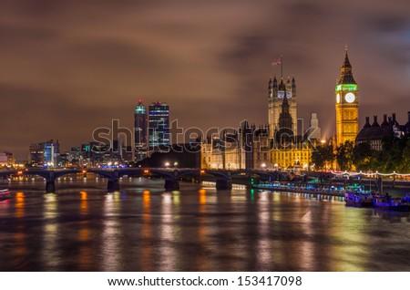 Big Ben and Westminster Bridge at night, London, UK - stock photo