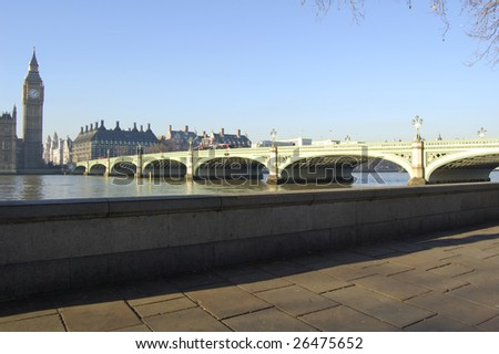 Big Ben and Westminster Bridge from the South Bank, London, England - stock photo