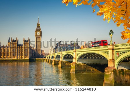 Big Ben and westminster bridge in London - stock photo