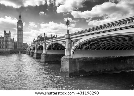 Big Ben and Westminster Bridge in London, UK - stock photo