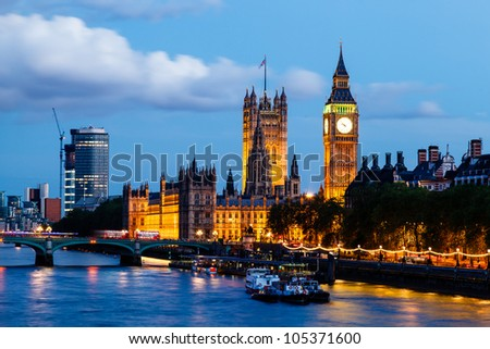 Big Ben and Westminster Bridge in the Evening, London, United Kingdom - stock photo