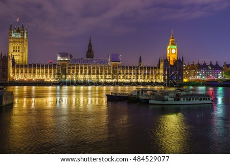 Big Ben and Westminster Parliament at night in London, UK