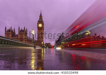 Big Ben at night in London, UK - stock photo