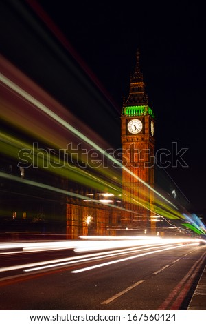 Big Ben at night with the cars light trails, London, UK - stock photo