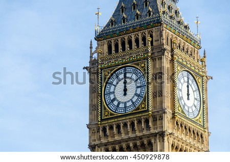 Big Ben at 12 o'clock, London, United Kingdom