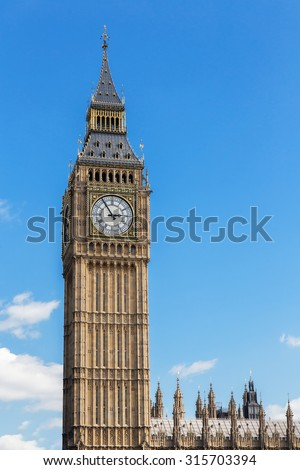 Big Ben at the Houses of Parliament aka Westminster Palace in London, UK - stock photo