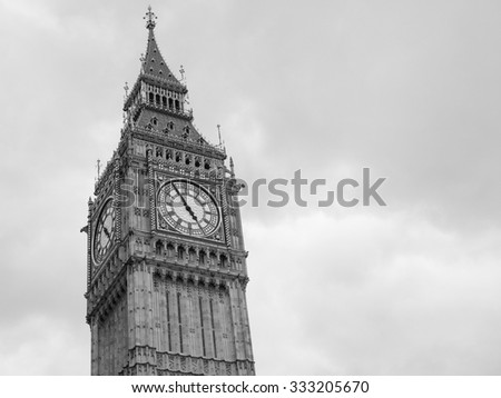 Big Ben at the Houses of Parliament aka Westminster Palace in London, UK in black and white - stock photo