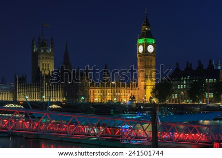 Big Ben at twilight, London, England - stock photo