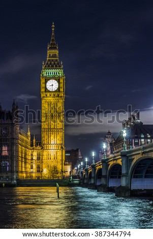 Big Ben by night - stock photo