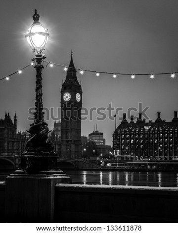 Big ben by night Black and white - stock photo
