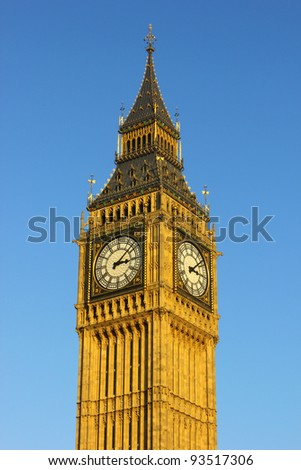 Big Ben clock, House of parliament, Westminster UK on a sunny day