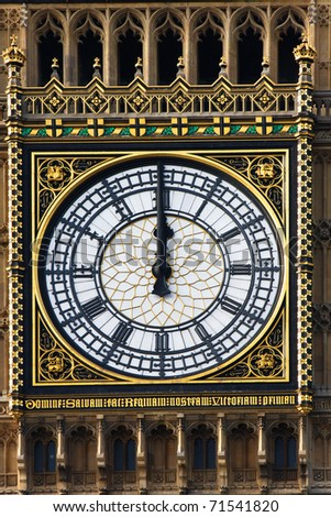 Big Ben clock just at the noon, London, UK - stock photo