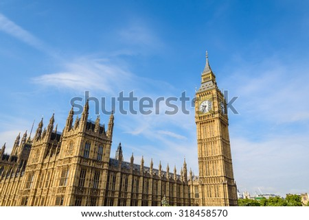Big Ben Clock Tower and House of Parliament, London, England, UK