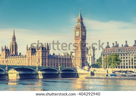 Big Ben Clock Tower and House of Parliament, London, England, UK, vintage effect style - stock photo