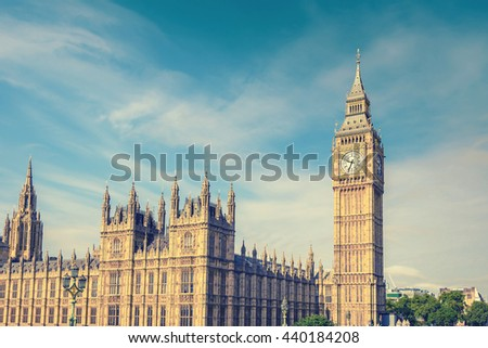 Big Ben Clock Tower and House of Parliament, London, England, UK, vintage style effect - stock photo