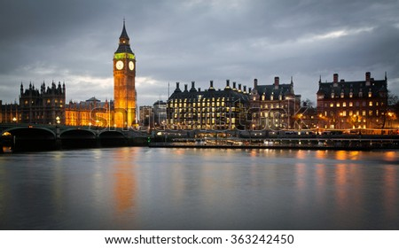 Big Ben Clock Tower and Parliament house at city of westminster, London England UK - stock photo