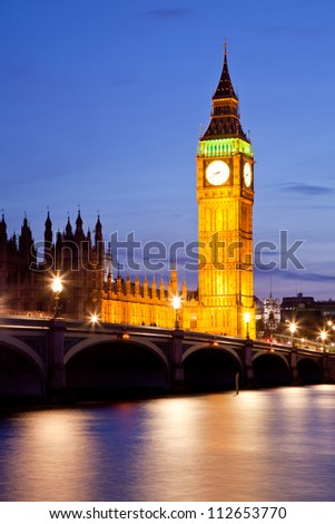 Big Ben Clock Tower and westminster bridge, London England UK - stock photo
