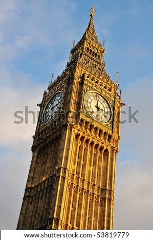 Big Ben - Clocktower at the Houses of Parliament in London, England - stock photo