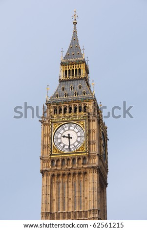 Big Ben, Close up of the Gothic Clock Face. London UK.